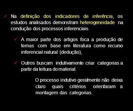 Na definição dos indicadores de inferência, os estudos analisados demonstram heterogeneidade na condução dos processos inferenciais.