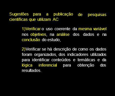 Sugestões para a publicação científicas que utilizam AC