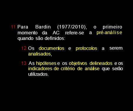 11.Para Bardi n (1977/2010), o. pri mei ro. momento da AC refere-se quando são definidos: a pré-anál i s e.
