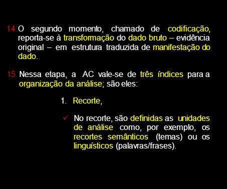 O segundo momento, chamado de codificação, reporta-se à transformação do dado bruto – evidência original – em estrutura traduzida de manifestação do dado.
