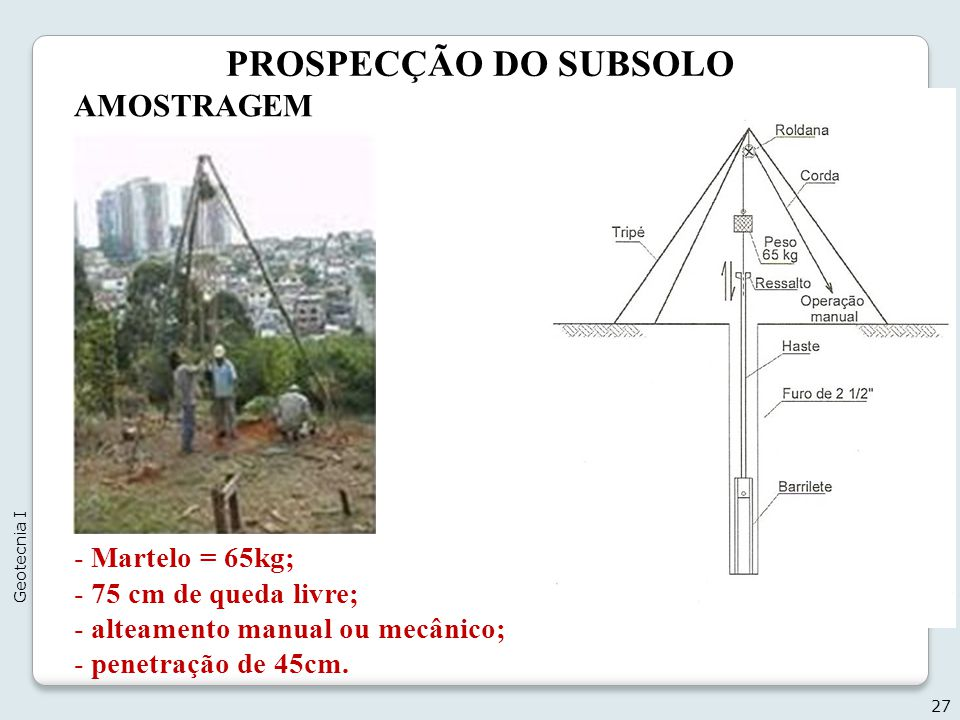 PROSPECÇÃO DO SUBSOLO AMOSTRAGEM Escavação do 1° metro (trado);