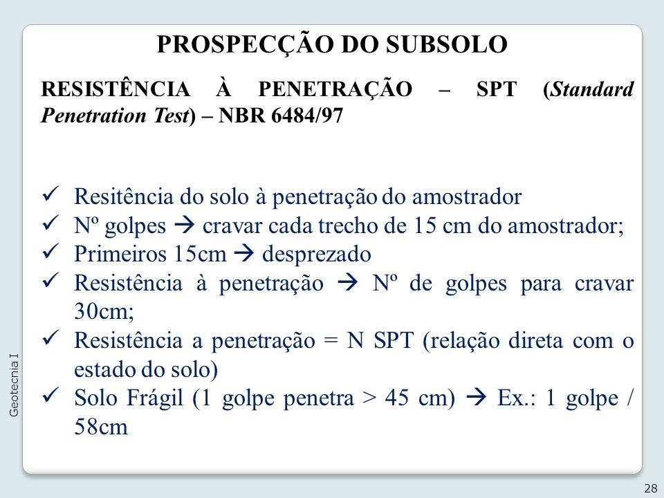 PROSPECÇÃO DO SUBSOLO Resitência do solo à penetração do amostrador