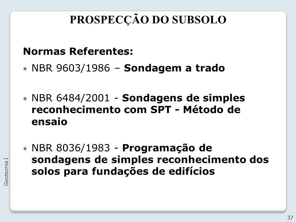 PROSPECÇÃO DO SUBSOLO Normas Referentes: