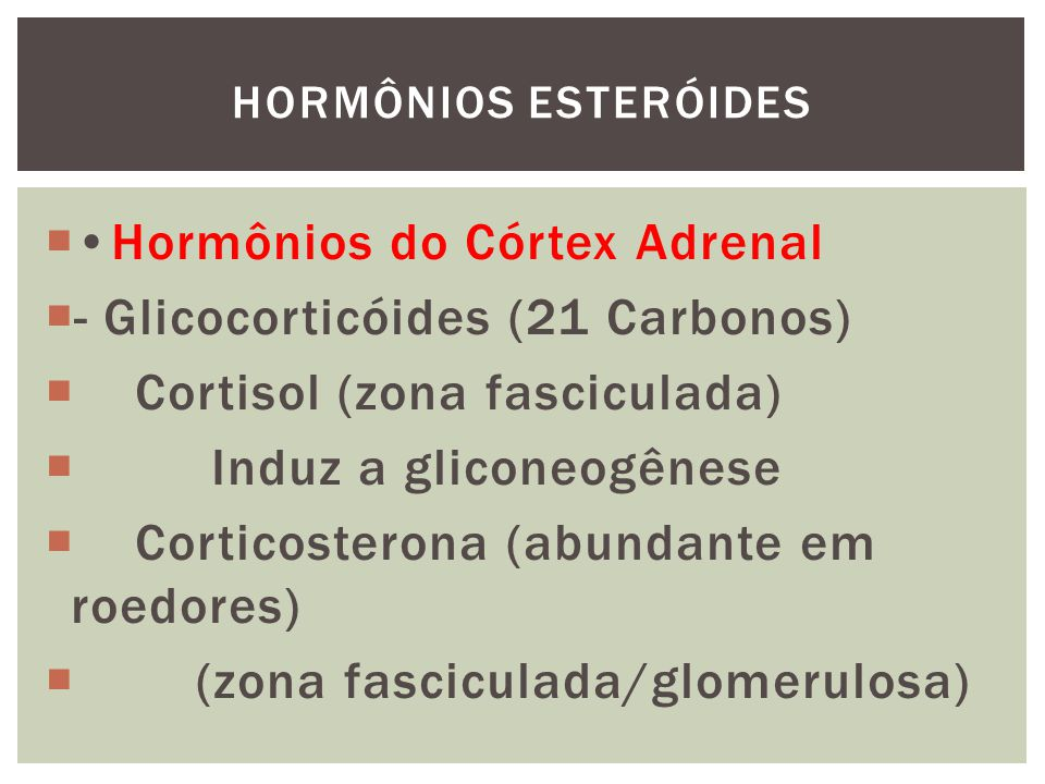 •Hormônios do Córtex Adrenal - Glicocorticóides (21 Carbonos)