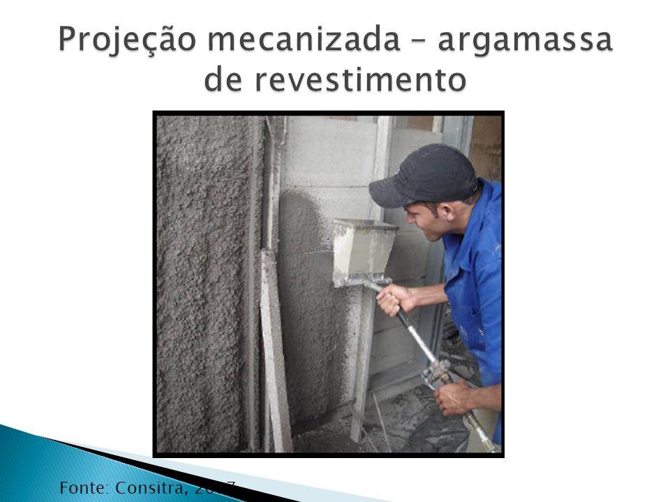 Projeção mecanizada – argamassa de revestimento