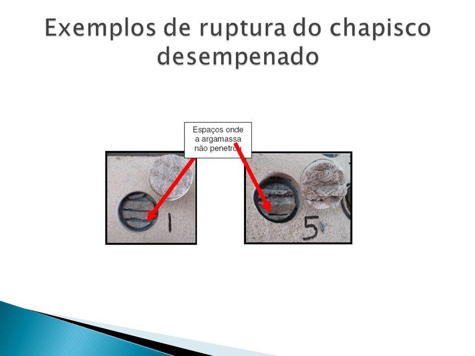 Exemplos de ruptura do chapisco desempenado