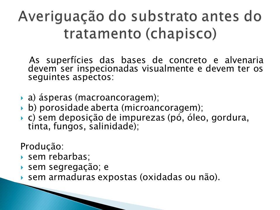 Averiguação do substrato antes do tratamento (chapisco)