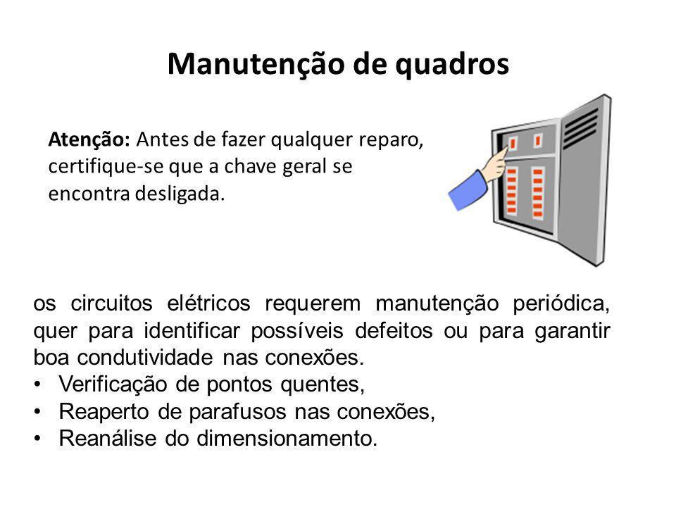 Manutenção de quadros Atenção: Antes de fazer qualquer reparo, certifique-se que a chave geral se encontra desligada.
