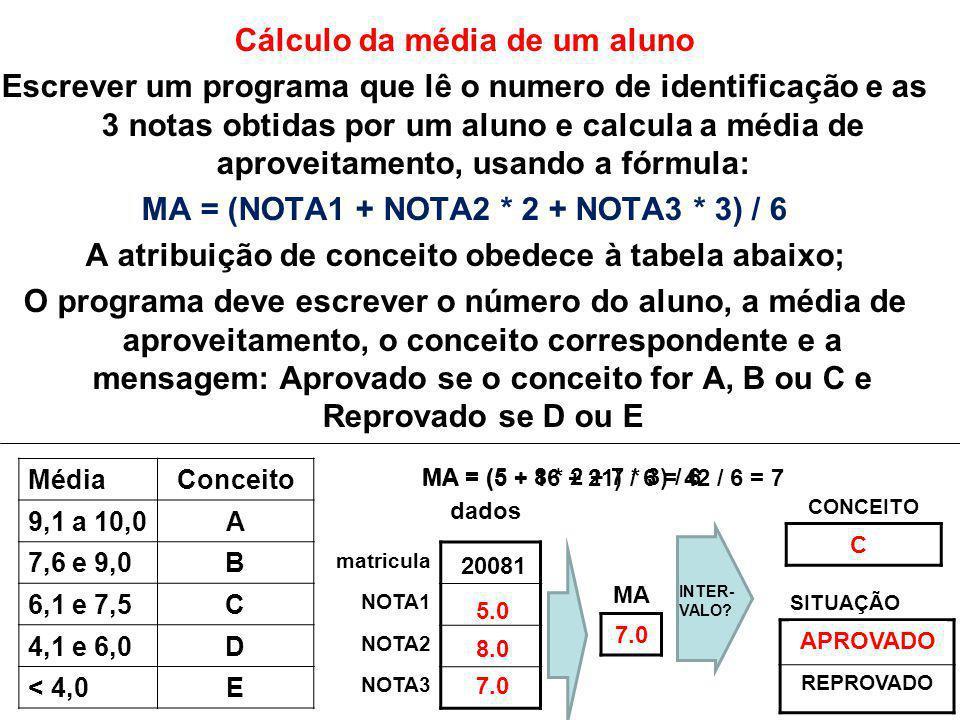 Cálculo da média de um aluno