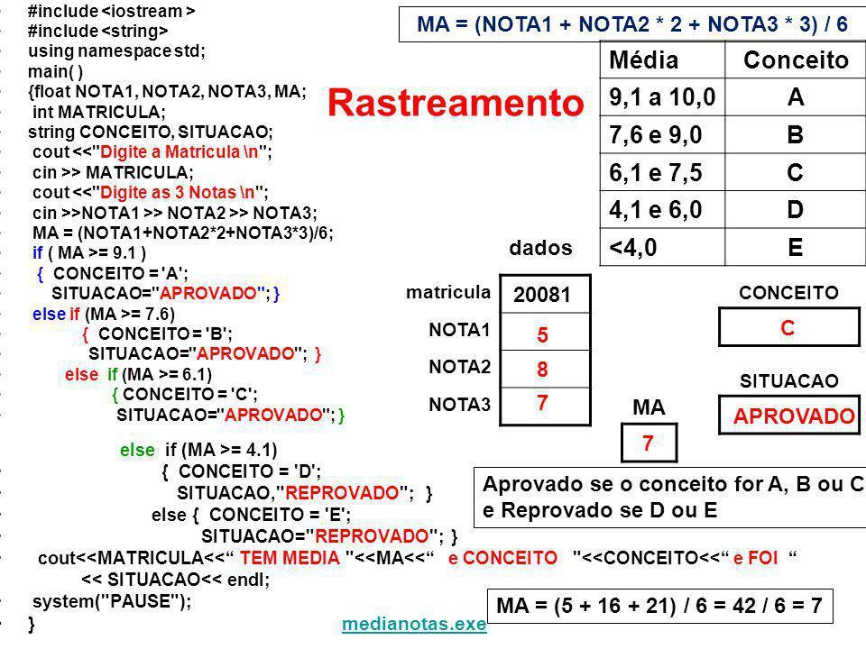 MA = (NOTA1 + NOTA2 * 2 + NOTA3 * 3) / 6