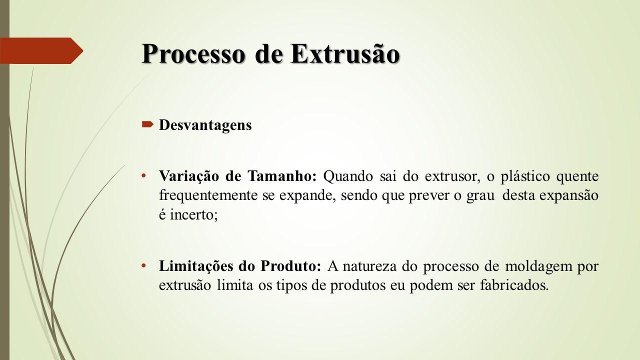 Processo de Extrusão Desvantagens