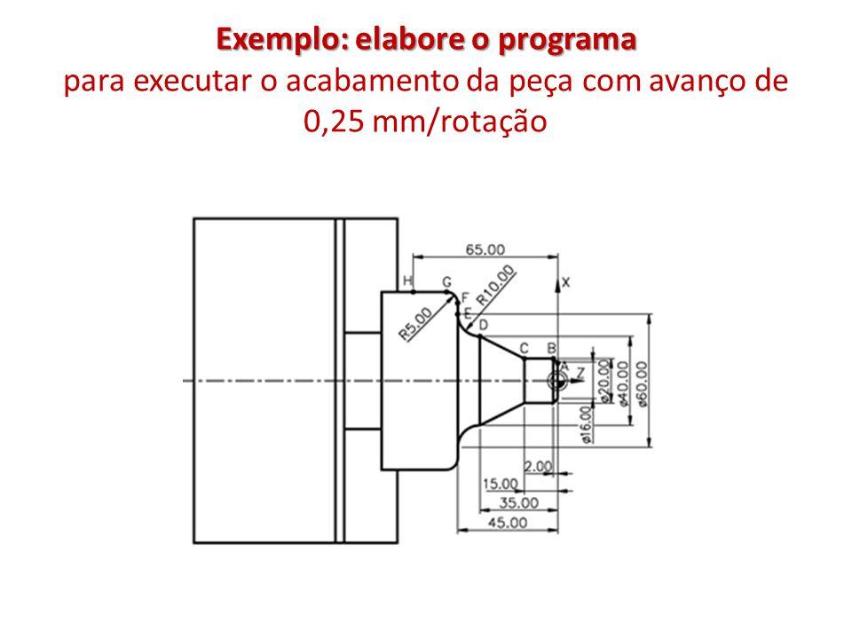 Exemplo: elabore o programa para executar o acabamento da peça com avanço de 0,25 mm/rotação