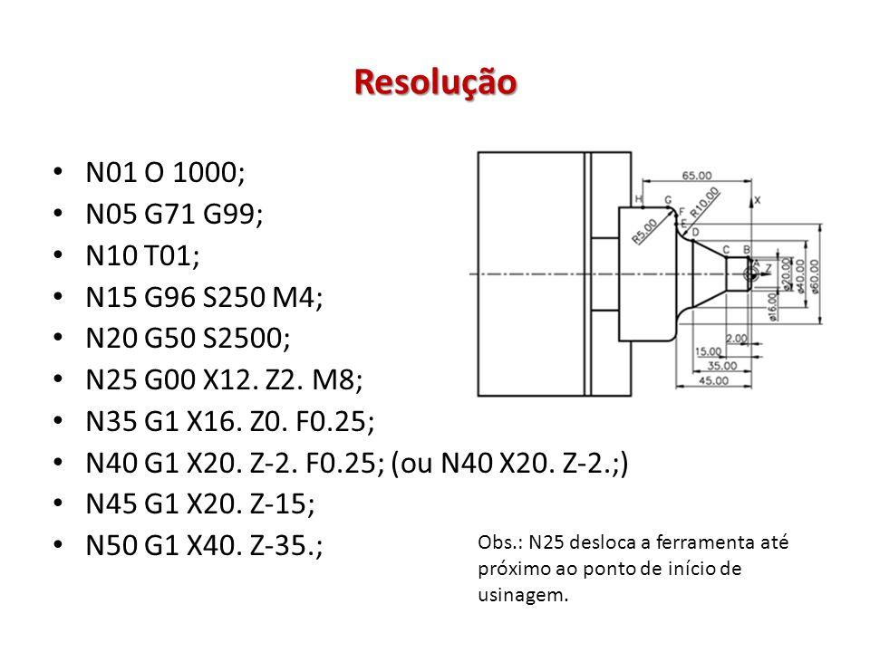 Resolução N01 O 1000; N05 G71 G99; N10 T01; N15 G96 S250 M4;