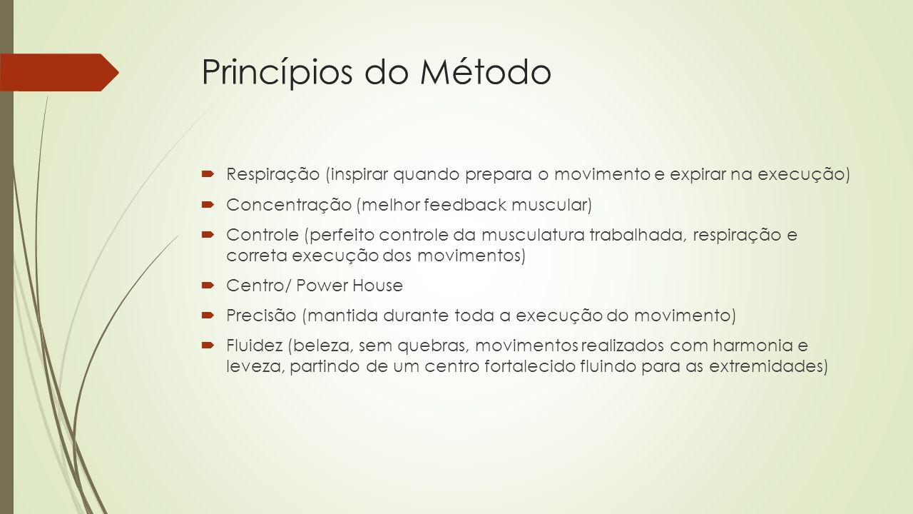 Princípios do Método Respiração (inspirar quando prepara o movimento e expirar na execução) Concentração (melhor feedback muscular)