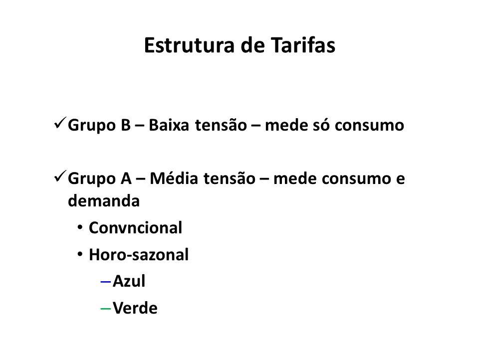Estrutura de Tarifas Grupo B – Baixa tensão – mede só consumo