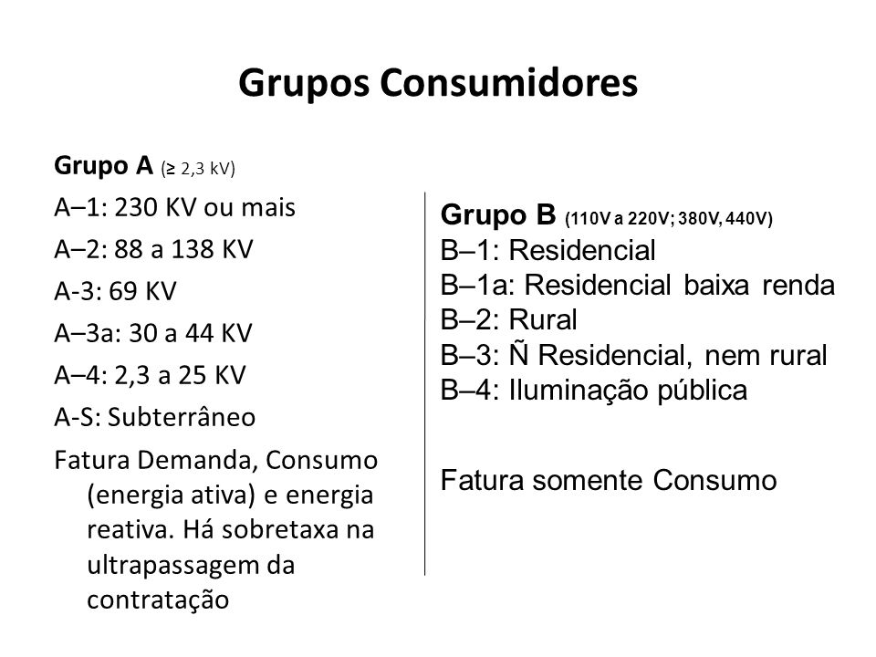 Grupos Consumidores Grupo A (≥ 2,3 kV) A–1: 230 KV ou mais
