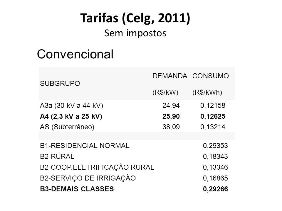 Tarifas (Celg, 2011) Convencional Sem impostos SUBGRUPO DEMANDA