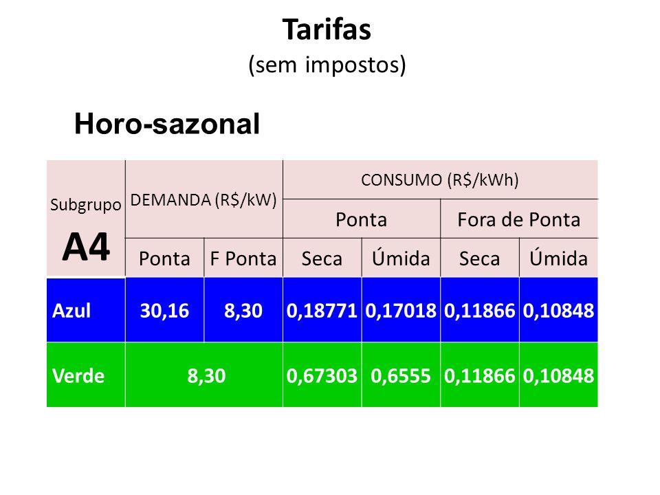 Tarifas Horo-sazonal (sem impostos) Ponta Fora de Ponta F Ponta Seca