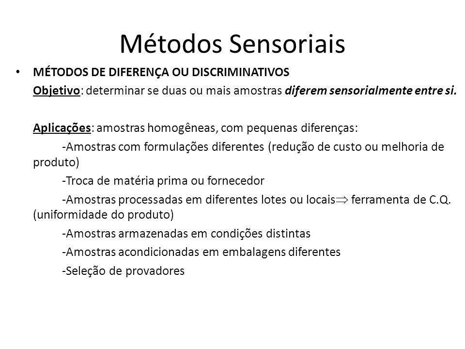 Métodos Sensoriais MÉTODOS DE DIFERENÇA OU DISCRIMINATIVOS