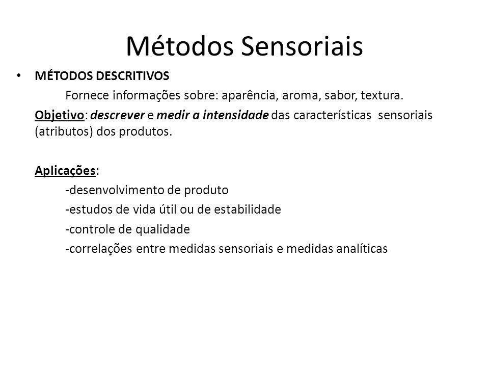 Métodos Sensoriais MÉTODOS DESCRITIVOS