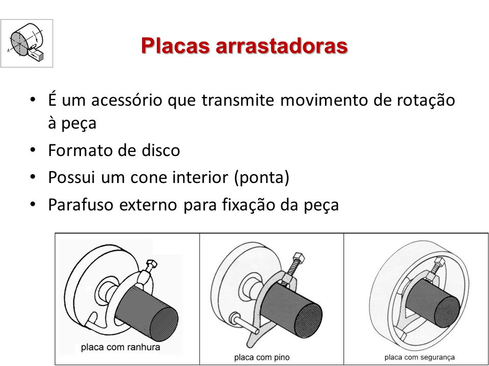 Placas arrastadoras É um acessório que transmite movimento de rotação à peça. Formato de disco. Possui um cone interior (ponta)