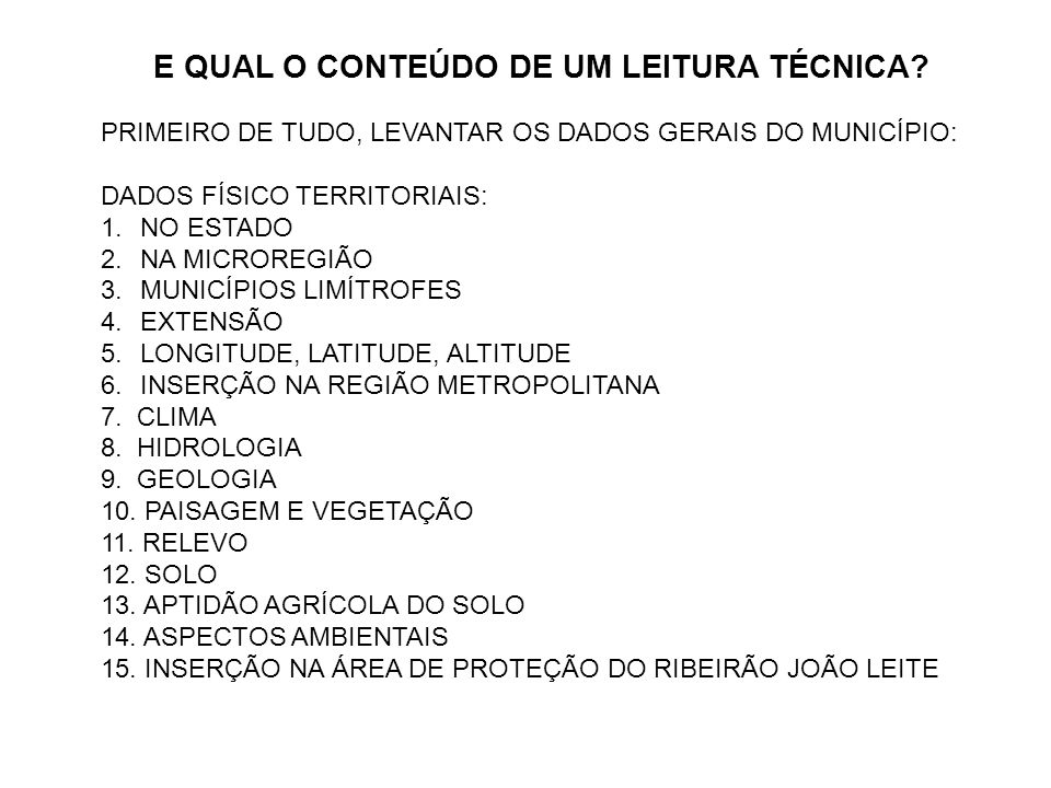 E QUAL O CONTEÚDO DE UM LEITURA TÉCNICA