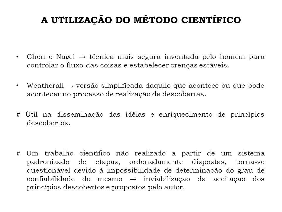 A UTILIZAÇÃO DO MÉTODO CIENTÍFICO