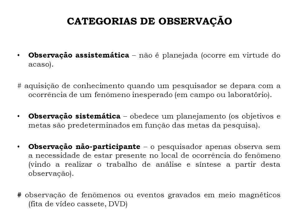 CATEGORIAS DE OBSERVAÇÃO