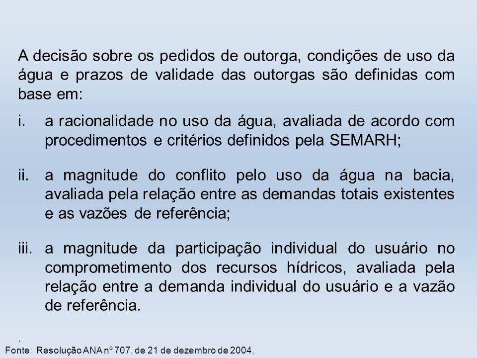 A decisão sobre os pedidos de outorga, condições de uso da água e prazos de validade das outorgas são definidas com base em: