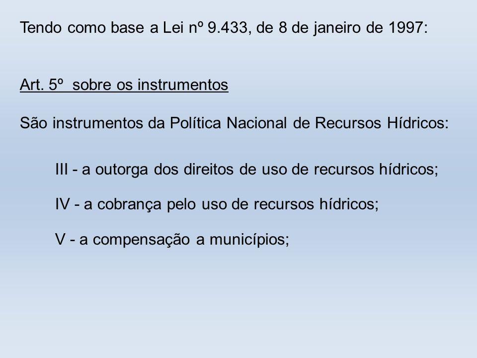 Tendo como base a Lei nº 9.433, de 8 de janeiro de 1997:
