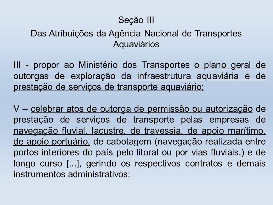 Das Atribuições da Agência Nacional de Transportes Aquaviários