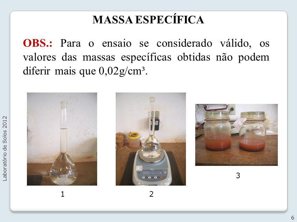 MASSA ESPECÍFICA OBS.: Para o ensaio se considerado válido, os valores das massas específicas obtidas não podem diferir mais que 0,02g/cm³.