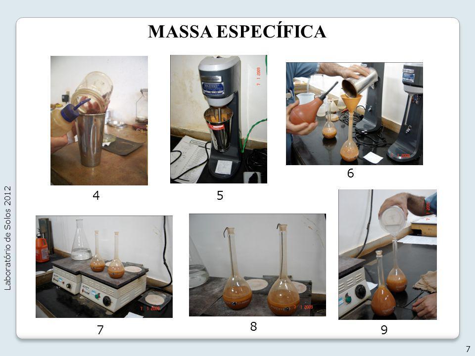 MASSA ESPECÍFICA 6 Laboratório de Solos 2012 4 5 8 7 9