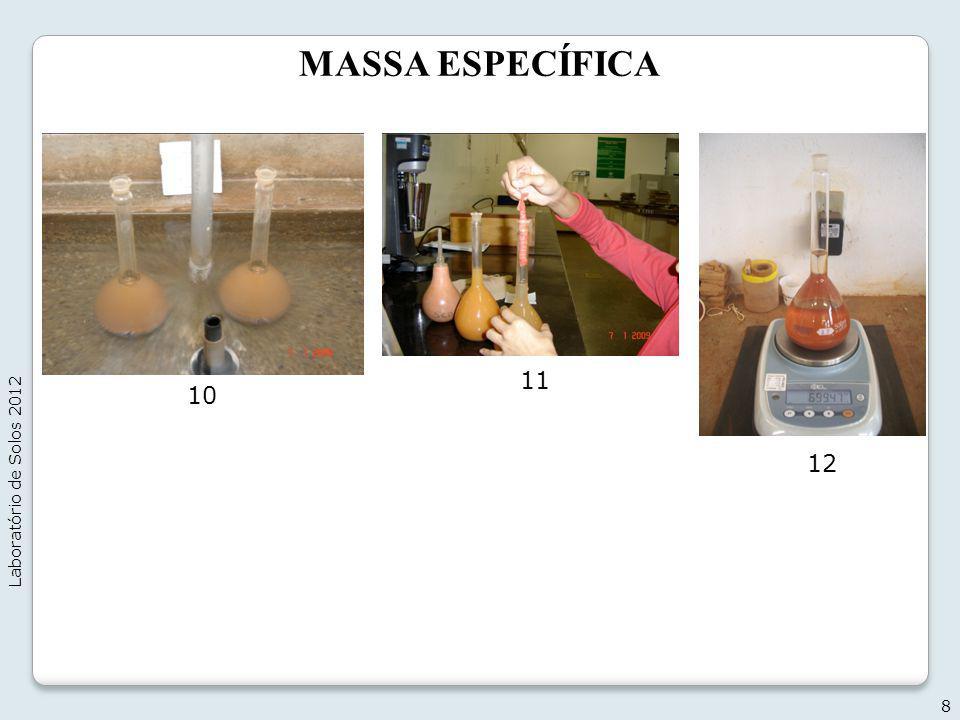 MASSA ESPECÍFICA Laboratório de Solos 2012 11 10 12