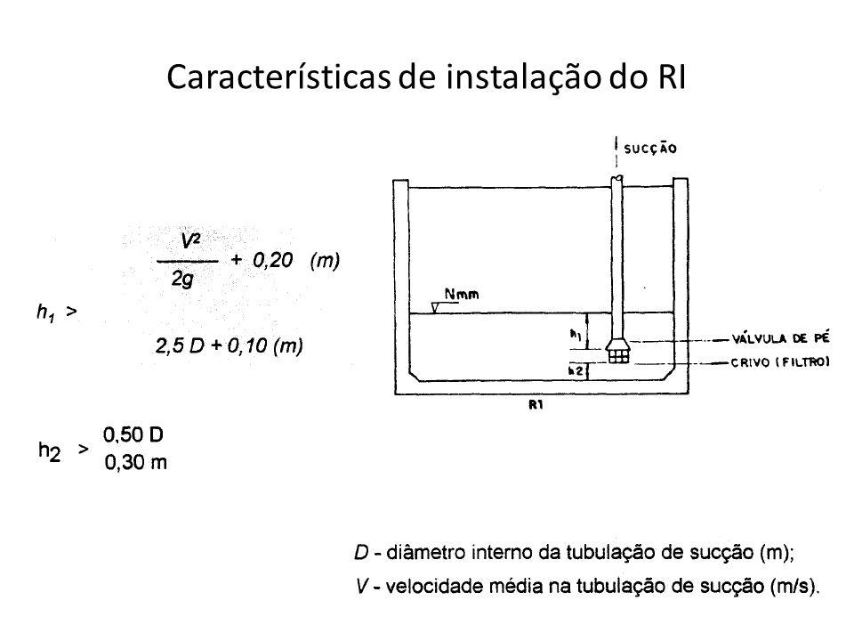 Características de instalação do RI