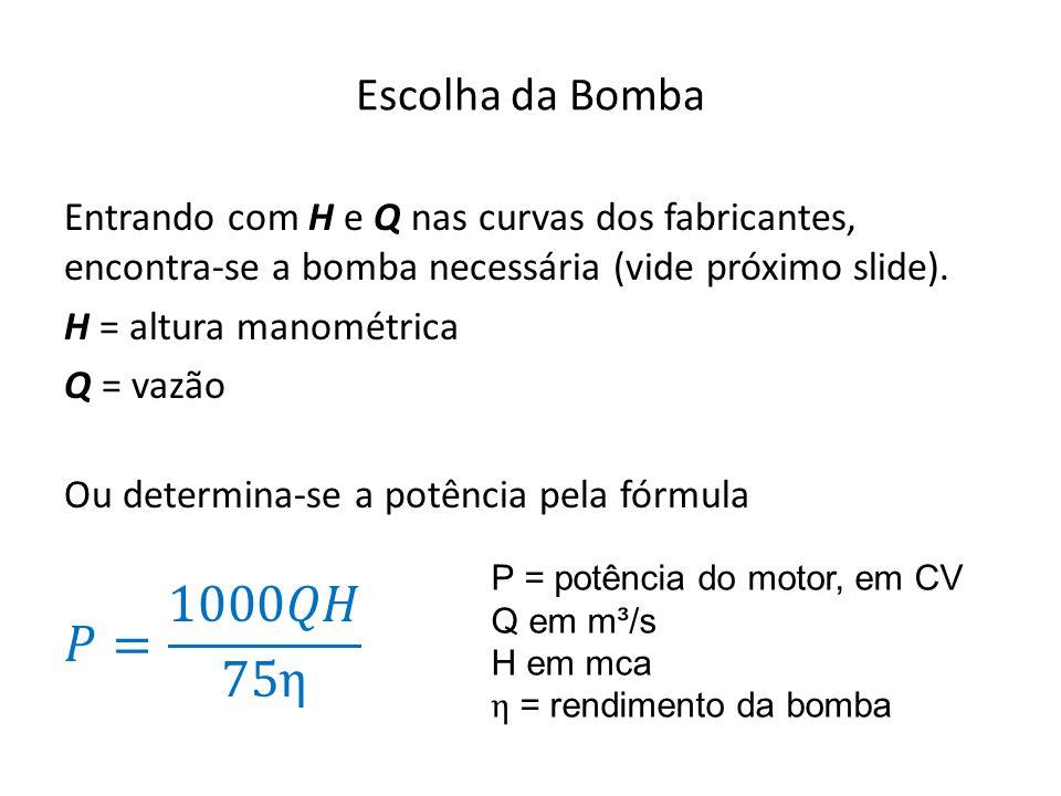 Escolha da Bomba Entrando com H e Q nas curvas dos fabricantes, encontra-se a bomba necessária (vide próximo slide).