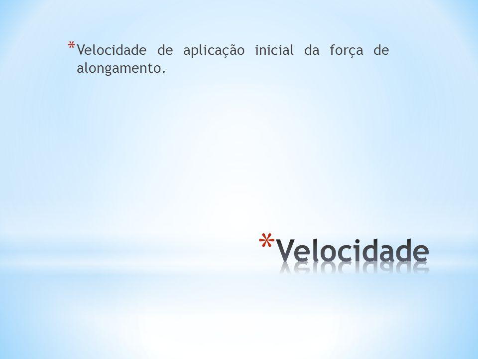 Velocidade de aplicação inicial da força de alongamento.