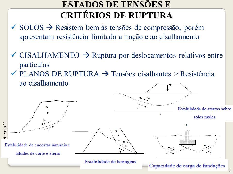 ESTADOS DE TENSÕES E CRITÉRIOS DE RUPTURA
