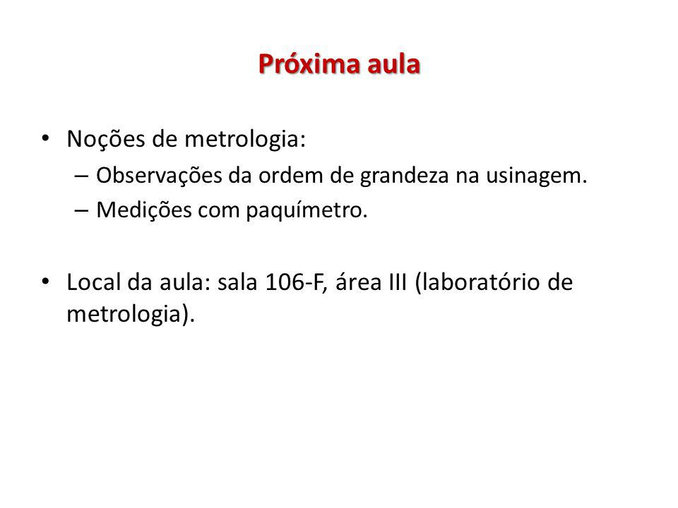 Próxima aula Noções de metrologia: