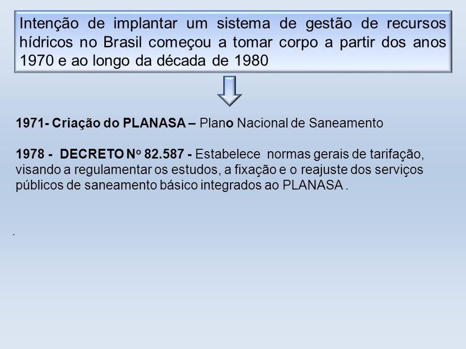 Intenção de implantar um sistema de gestão de recursos hídricos no Brasil começou a tomar corpo a partir dos anos 1970 e ao longo da década de 1980