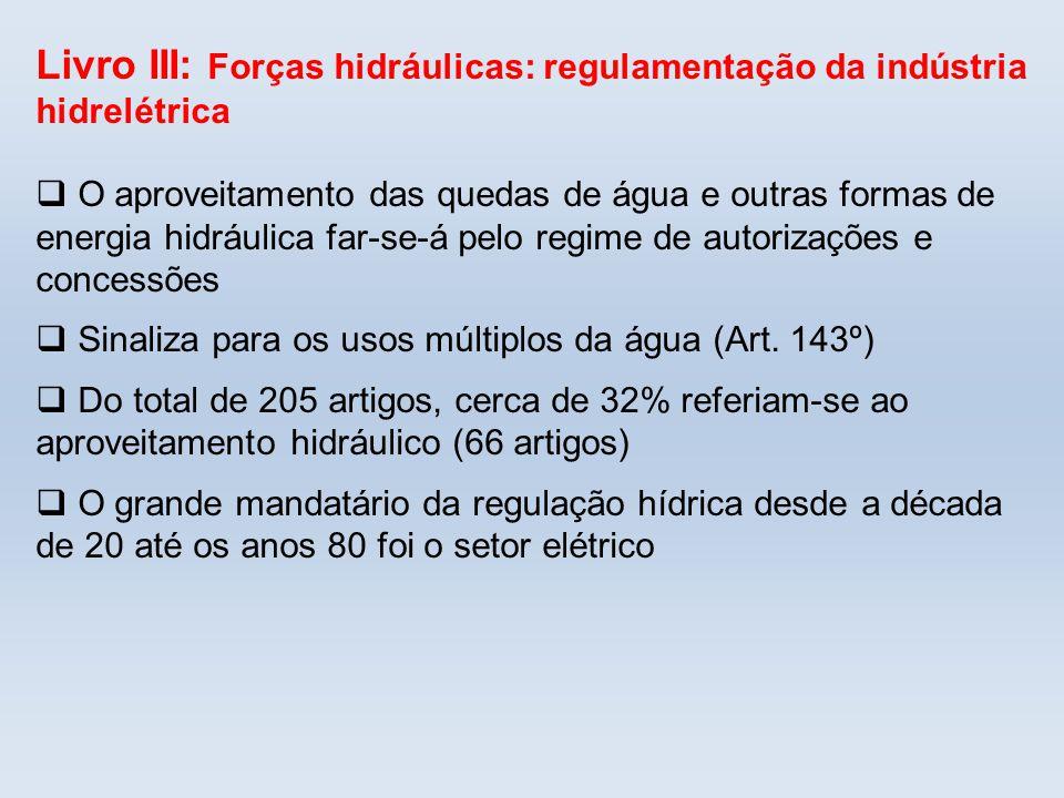 Livro III: Forças hidráulicas: regulamentação da indústria hidrelétrica
