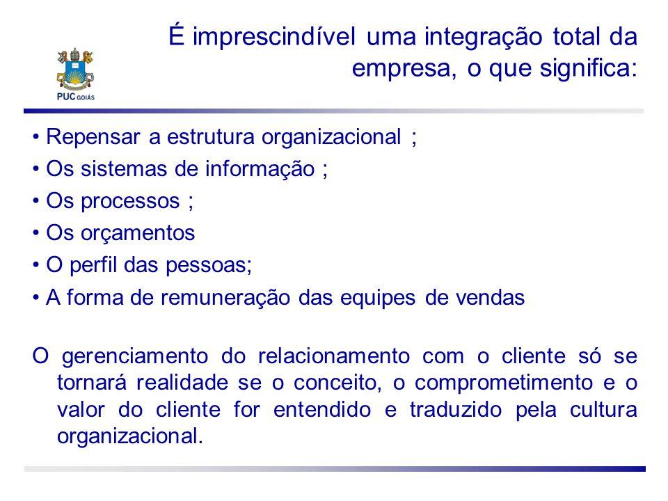É imprescindível uma integração total da empresa, o que significa: