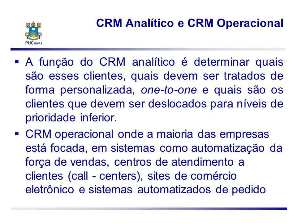CRM Analítico e CRM Operacional
