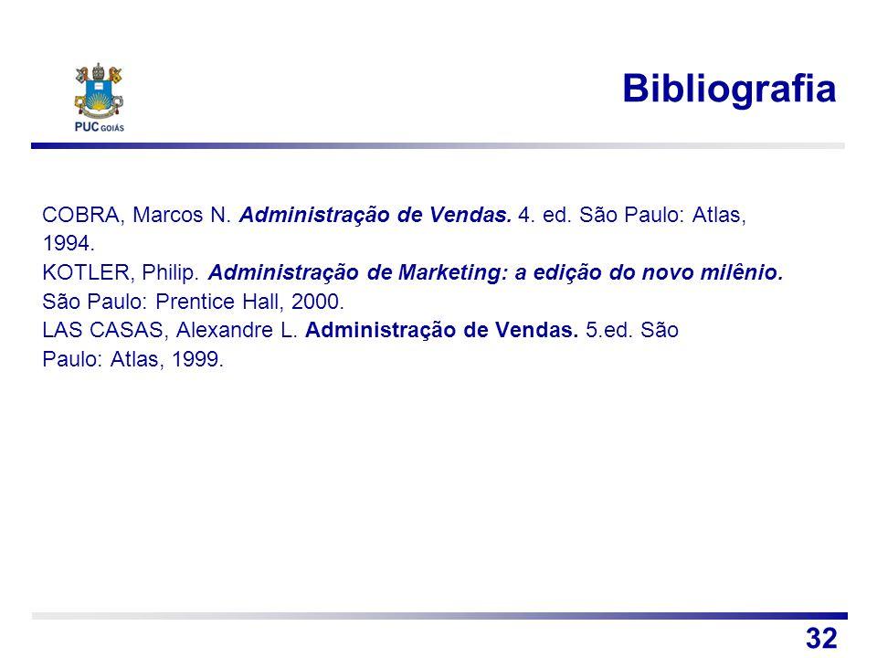 Bibliografia COBRA, Marcos N. Administração de Vendas. 4. ed. São Paulo: Atlas, 1994.