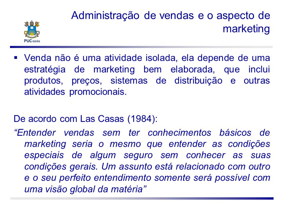 Administração de vendas e o aspecto de marketing