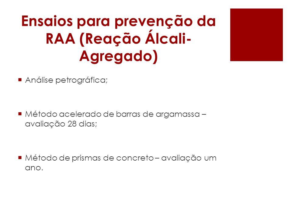 Ensaios para prevenção da RAA (Reação Álcali-Agregado)