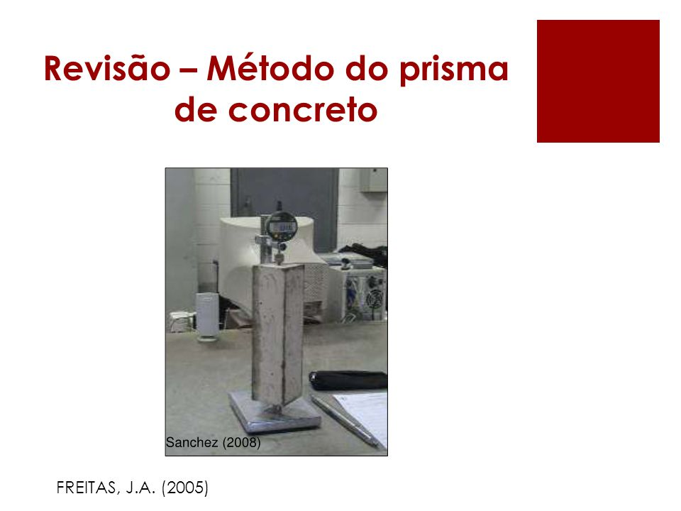 Revisão – Método do prisma de concreto