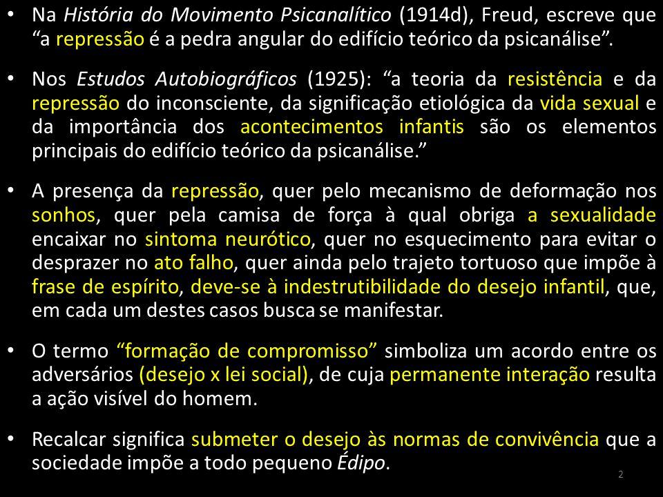 Na História do Movimento Psicanalítico (1914d), Freud, escreve que a repressão é a pedra angular do edifício teórico da psicanálise .