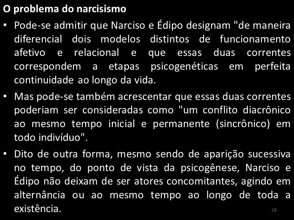 O problema do narcisismo
