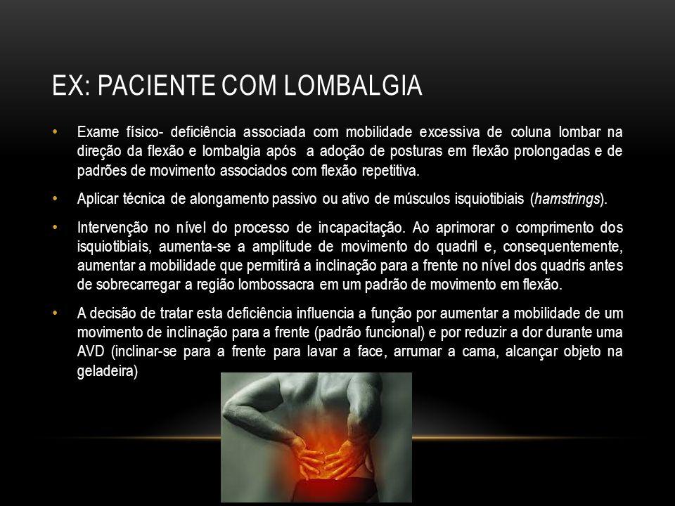 EX: paciente com Lombalgia